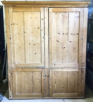 Large 19th Century Pine School Cupboard Housekeepers Antique Cabinet Reclaimed