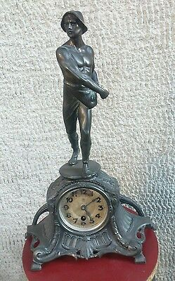 Antique Tabletop Clock In Antimony Burnished Of Junghans -The Sower