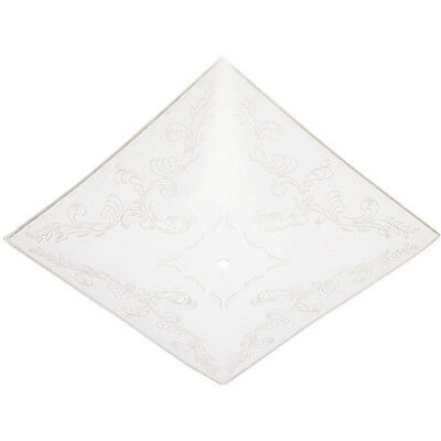 WHITE GLASS DIFFUSER 11-3/4 In Clear Square Ceiling Light Cover Floral Design