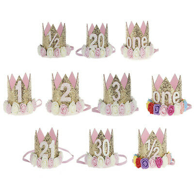 4406b78bc1c Princess Baby Girl 1st Birthday Flower Crown Party One Two Year Hairband  Tiar JH
