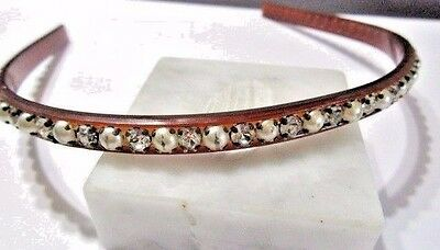 Vintage Faux Tortoise Color Lucite Embellished Hair Band Faux Pearl Rhinsestones