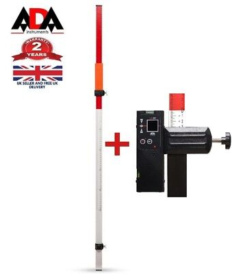 Telescopic leveling STAFF + Laser Level Receiver / Detector For Red Beam Lasers