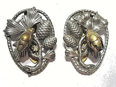 Vintage 1950's Dress Clip Pair Silver Tone Carved Leaves Pine-Cone Dangle Brass