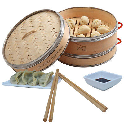 2 Tier Bamboo Steamer Food Cooker With 2 Plates & 2 Pair Chopsticks 21cm / 24cm