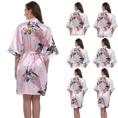 Silk Satin Peacock Personalized Wedding Robe Bride Bridesmaid Dressing Gown UK