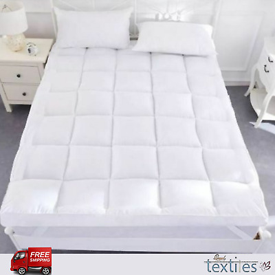 """4"""" Deep Mattress Topper / Protector Luxury Comfy Microfiber Soft Hotel Home Bed"""
