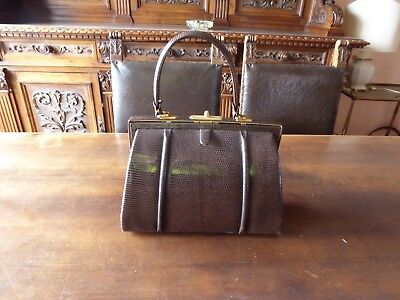Borsa vintage in vera pelle colore marrone scuro