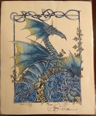 """Knots & Ivy"" print by Amy Brown 8 X 10 signed / numbered - Dragon / Knots / Ivy"