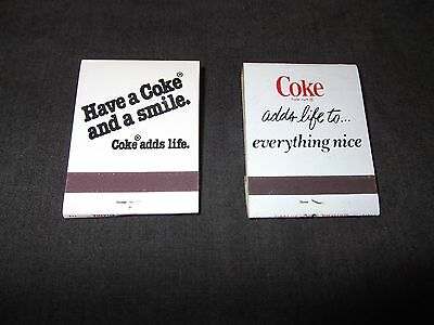 Coca Cola Matchbook 2 Book Lot Matches Have a Coke And A Smile Adds Life To