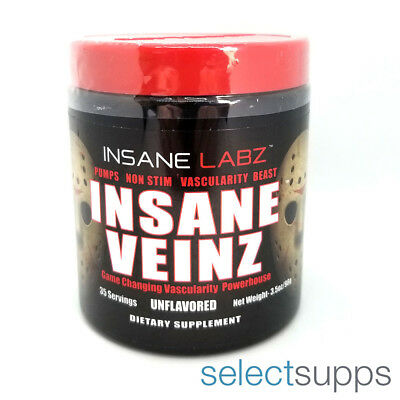 Insane Veinz Vascular Pump Pre-Workout - Unflavored - 35 Servings by Insane Labz