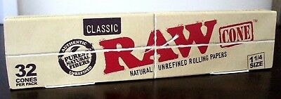 Raw Classic Natural Unrefined 1 1/4 Pre-Rolled Rolling Paper Cones 32 Count~NEW