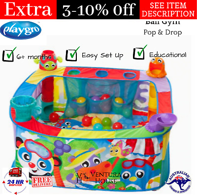 Playgro Pop & Drop Ball Gym Colorful Infant / Toddler Activity Play Gym w/ Balls