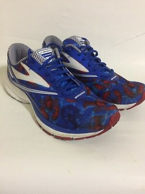 b14b48537a2 Brooks Launch 4 Boston Marathon Lobster 2017 Red Blue Women Running Sz 10