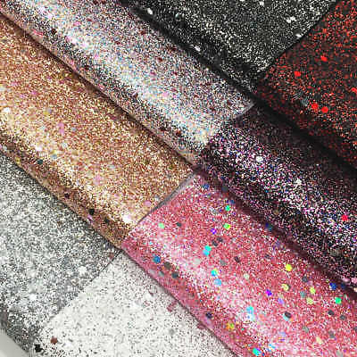 A4 Multi Color Stars Fine Glitter Fabric Sparkly Faux Leather Bow Craft Material