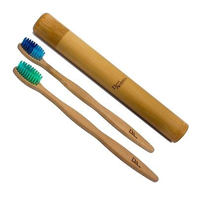 Bamboo Case & Toothbrush ~ Adult Medium/Soft Bristles Eco Biodegradable Colours