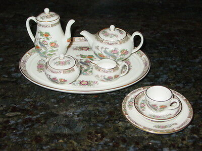 Discontinued Wedgwood Kutani Crane Mini / Miniature 11 Pc Tea / Coffee Set New