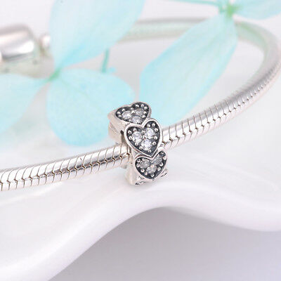 925 Silver Sterling Pave Hearts CZ slim Spacer Charm fits all European bracelets