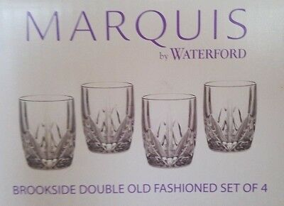 Set Of 4 Waterford Crystal Glasses Brookside Double Old Fashioned Edition
