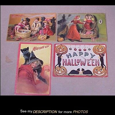 3 1909 Rapheal Tuck 1 International Art Halloween Postcards JOL Cat Witch Bobbin