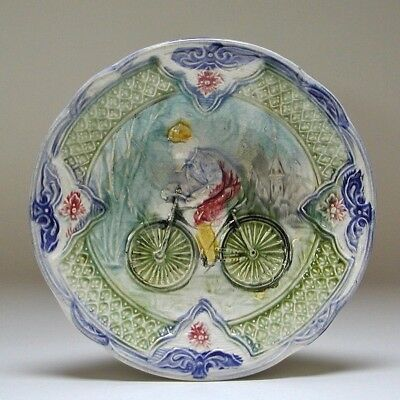 Antique Continental Majolica Plate Late 19th Century Pottery Bicyclist