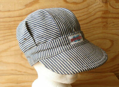 40s Vtg Union Made RUGGED K Hickory Stripe Denim Railroad Engineer Cap Hat  7 1  a805adc4f9c9
