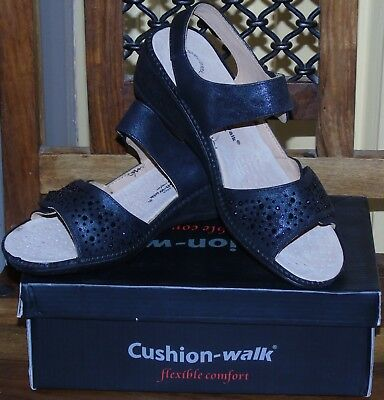 New in Box Cushion Walk Scarlet Wedge Heel Black Slingback Shoes 5 UK 7 UK