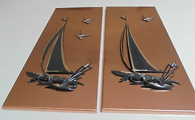 Retro Sail Yachts Copper Pictures Copper Sailing Yacht with Birds Wall Hangings
