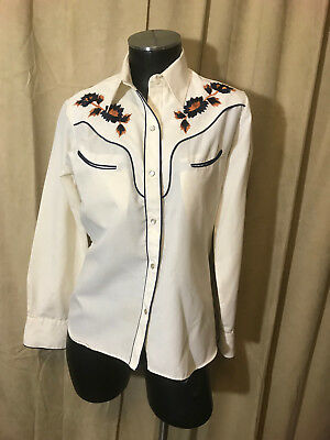 Womens Vtg 1970s Fenton Western Blouse Size 32 Cream Floral Long Sleeve Cot/poly