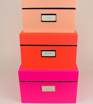 Incroyable Kate Spade New York   3 Nesting Box Set   NEON Pink/Orange Gift+