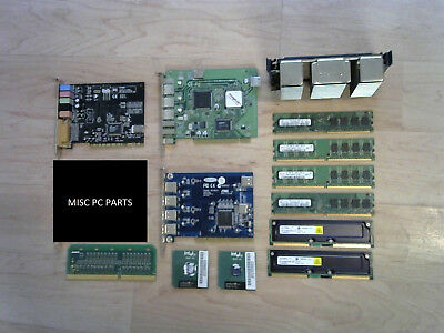 MISC PC Computer parts LOT - PCI sound card, USB cards, SDRAM, Pentium III CPUs