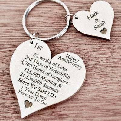 1st First Wedding Anniversary Gift For Husband Wife Personalised Keyring Her K43 5 99 Picclick Uk