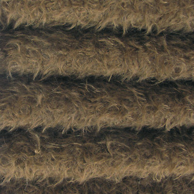 "1/4 yd 325S/CM Antq. Brown INTERCAL 5/8"" Semi-Sparse Curly Matted Mohair Fabric"
