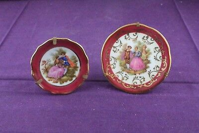 2 x Vintage Limoges Miniature Porcelain Plates  Made In France with Brass Stands