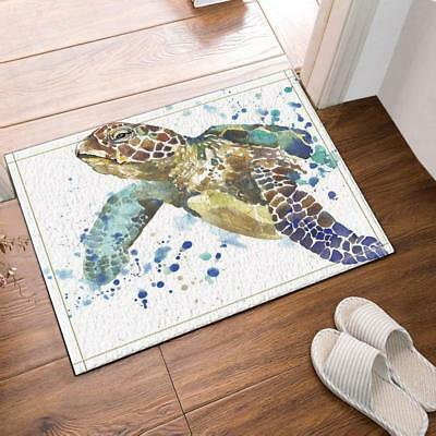 Sea Animal Lover Watercolor Brick Turtle Bath Rug Non-Slip Floor Indoor Door Mat