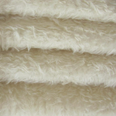 "1/6 yd 325H White INTERCAL 5/8"" Semi-Sparse Heirloom Finish German Mohair Fabric"