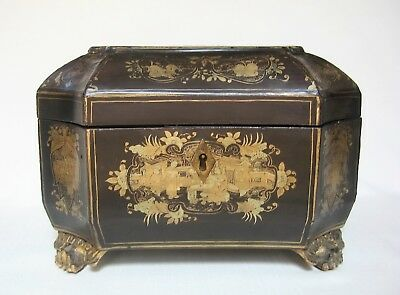 Antique Chinese Gilt Lacquered Tea Caddy w/ Pewter Containers