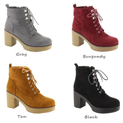 3599905e49a7 Women Causal Low Heel Lace-up Almond Toe Chunky Block Ankle Booties Shoes  HOT