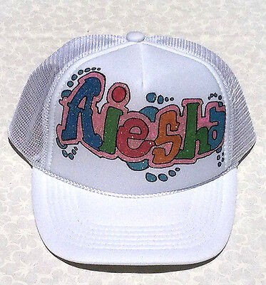 a2d9ad90f AIESHA YOUR NAME Gift Trucker Hats Caps Personalized Custom Airbrush Art