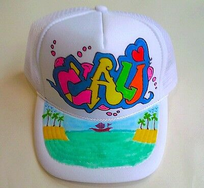 a76348c0 Cali Your Name Gift Trucker Hats Caps Personalized Custom Graffiti Airbrush  Art