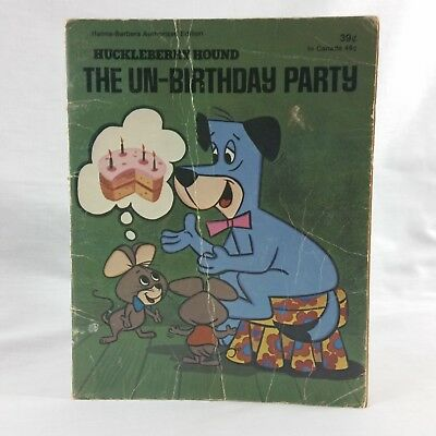 Huckleberry Hound Vintage Book Unbirthday Party Hanna Barbera Paperback 1975 70s