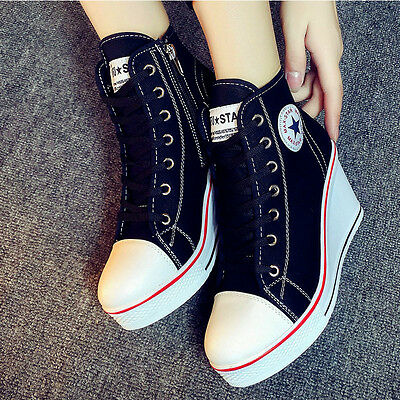 Womens High Top Lace Up Wedge Heel Canvas Shoes Casual Round Toe Sport Sneakers