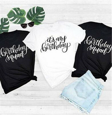 Personalised Tee Birthday Party Shirts Girl Squad T Shirt Ladies Female Tops