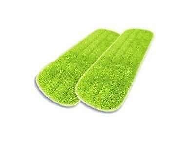 "2-pk Washable Microfiber Wet Mop Refill Pads 16"" x 5.5"" Green FAST SHIP! DA1"