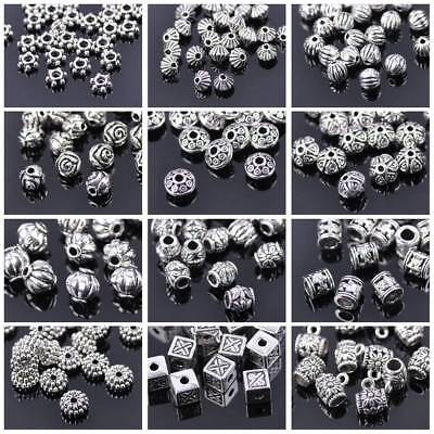 50x Tibetan Silver Metal Charms Loose Spacer Beads Wholesale Jewelry Findings A+