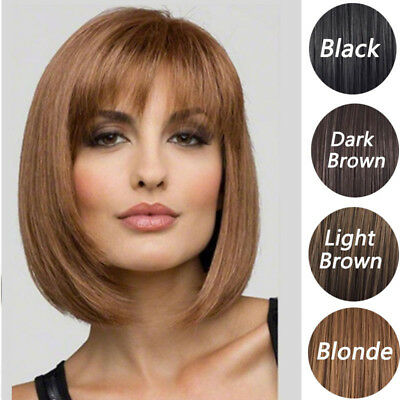 Womens Short Synthetic Straight Bob Wigs with Bangs Heat Resistant Hair Wigs AU