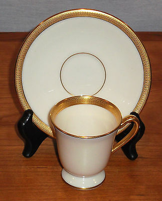Lenox Hanover Cream Pattern (J30) Footed Demi / Demitasse Cup & Saucer Mint