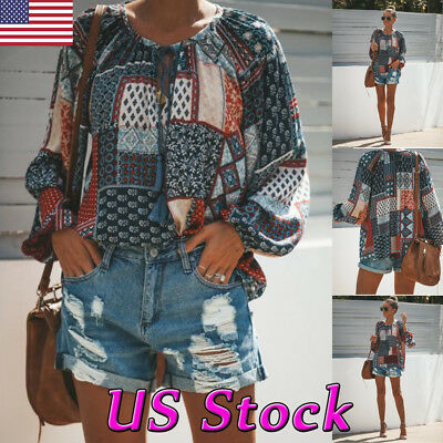 Summer Womens Boho Floral Crew Neck Long Sleeve Shirt Loose Casual Top Blouse US