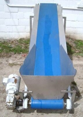 15 inch X 96 Inch Stainless Steel Sanitary Blue Belt Conveyor With Hopper