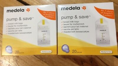 Medela Pump And Save Breast Milk Storage Bags 2 X 20 Pieces