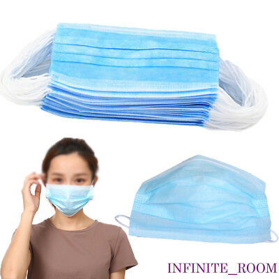 1/25/50 x  Disposable 3 Ply Surgical Dental Nail Salon Dust Medical Face Mask
